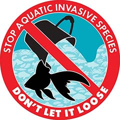 Invasive goldfish logo – Stop aquatic invasive species: Don't let it loose