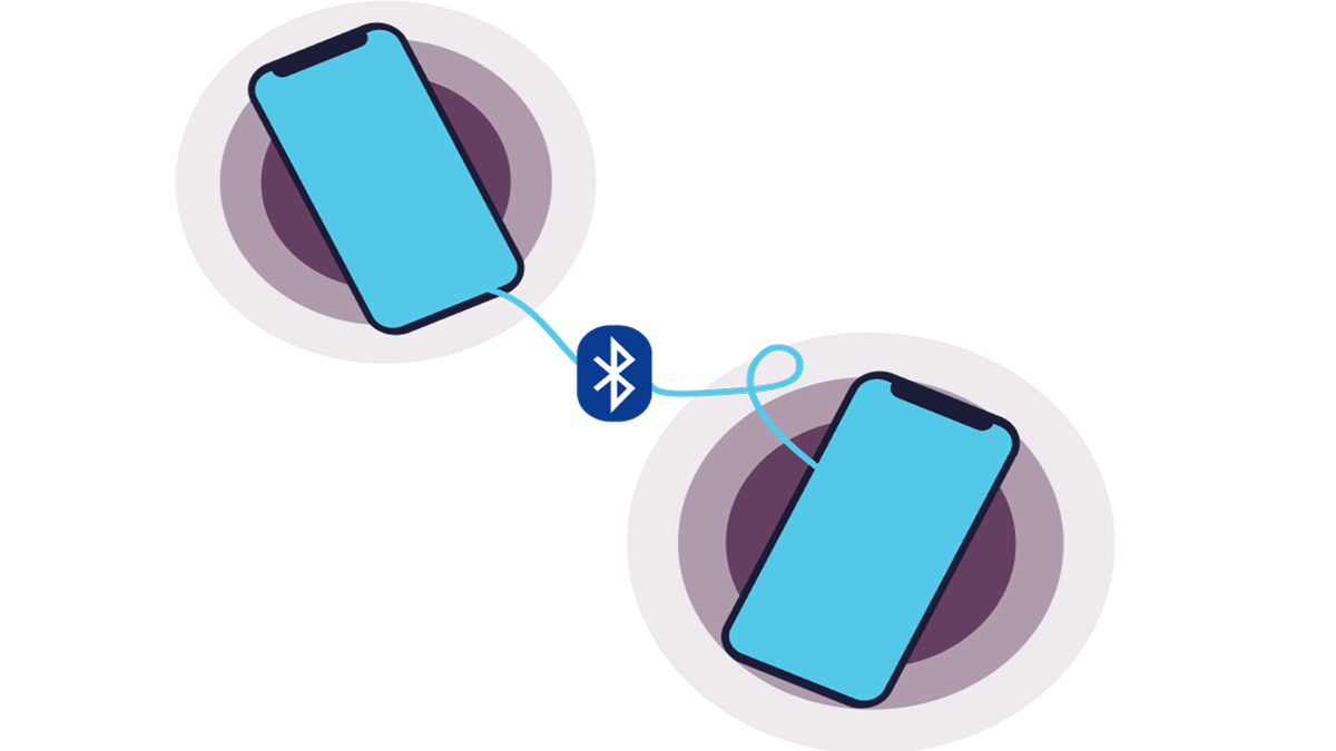 An illustration of two phones connected through Bluetooth technology
