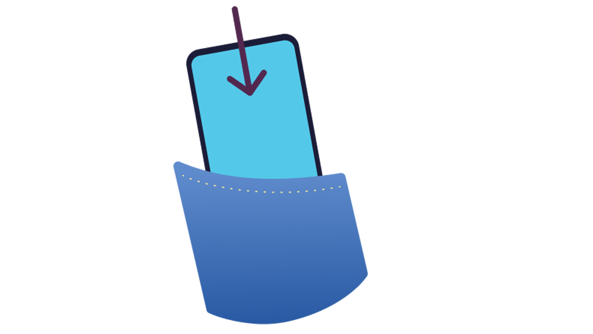 Illustration of a phone going into a pocket