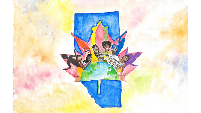 Think Globally Art Contest Grade 4 to 6 honorable mention entry submitted by Mya Delano