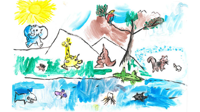 Think Globally Art Contest Kindergarten to Grade one winning entry submitted by Maria Lypovyk