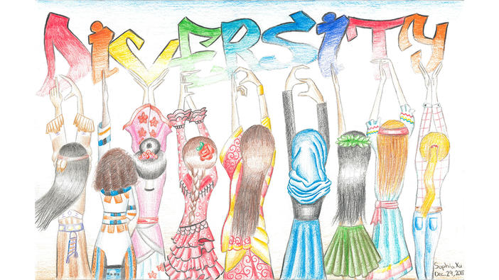 Think Globally Art Contest Grade 7 to 9 winning entry submitted by Sophia Xu