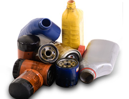 Used oil filters and oil containers