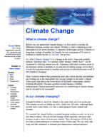 First page of Focus On, Climate Change document