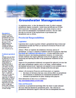 First page of Focus On, Groundwater Management document