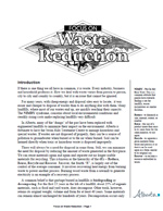 First page of Focus On, Waste Reduction document