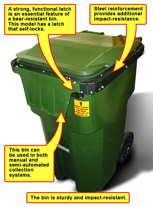 A residential bear-resistant bin. To be effective, the bin should be sturdy and impact-resistant and possess a strong latch and steel reinforcement.