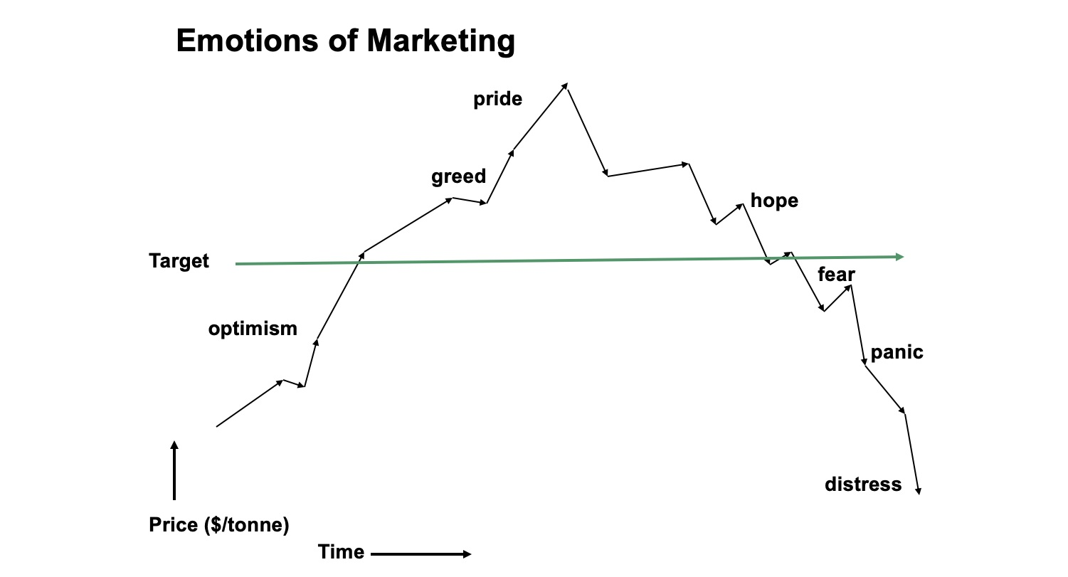 Chart showing the emotions of marketing by price over time.