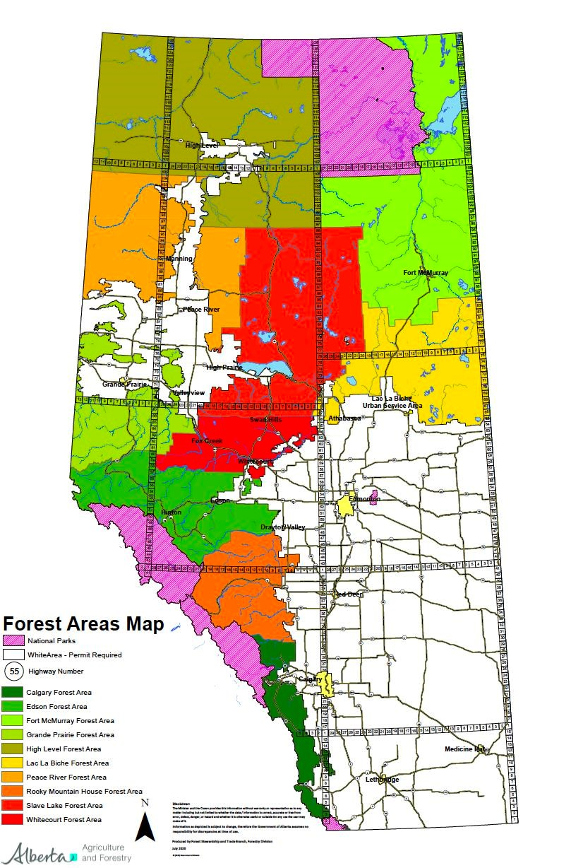 Forest areas map