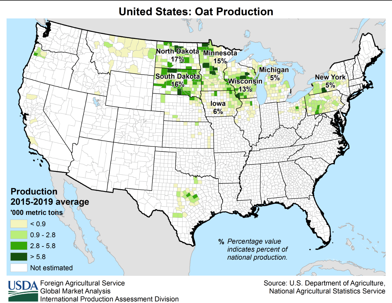 Map showing United States barley production 5 year average from 2012 to 2016.