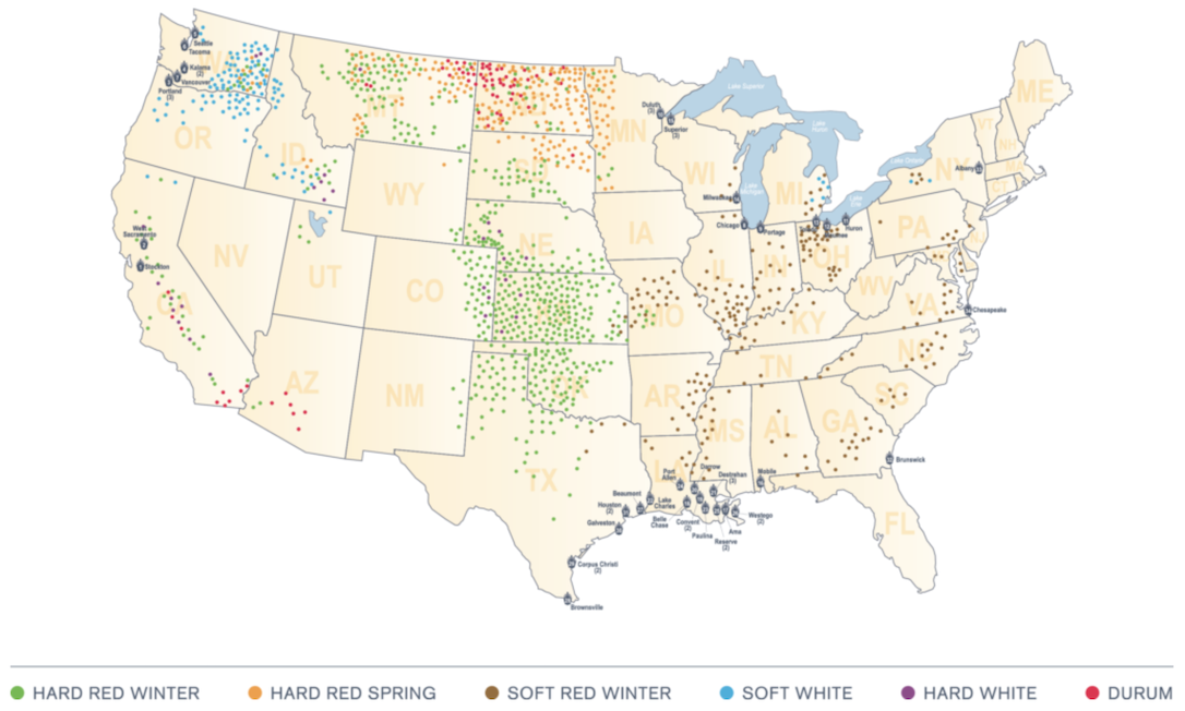 Map showing wheat production areas in the United States.