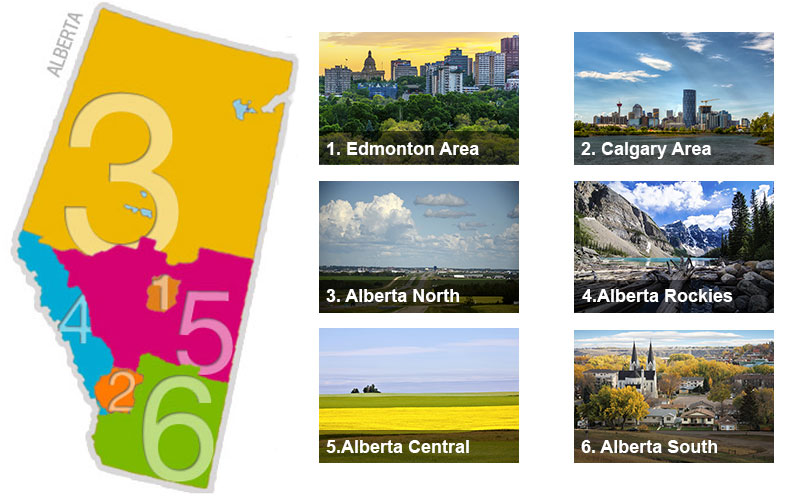 1. Edmonton Area 2. Calgary Area 3. Alberta North 4. Alberta Rockies 5. Alberta Central 6. Alberta South