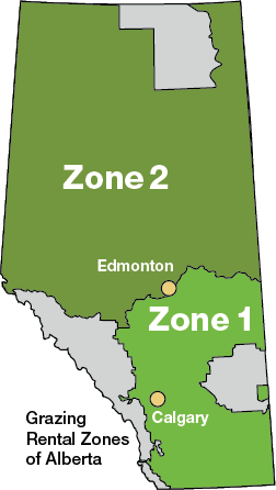 Map showing the Grazing Rental Zones of Alberta