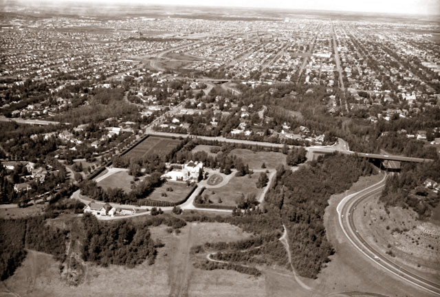 An archive aerial view of Government House.