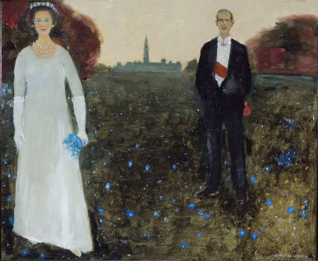 A painting of Queen Elizabeth the Second and Prince Philip standing in a field of blue flowers.