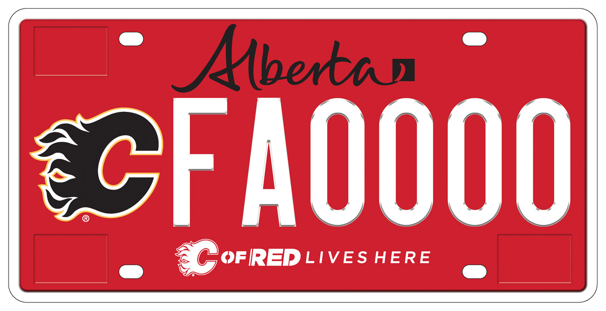 An image of the new Calgary Flames licence plate