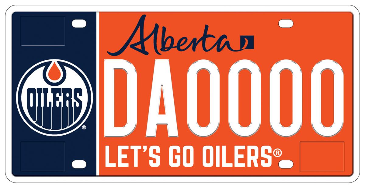 An image of the new Edmonton Oilers licence plate