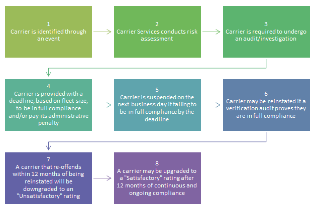 Overview chart of the carrier intervention process