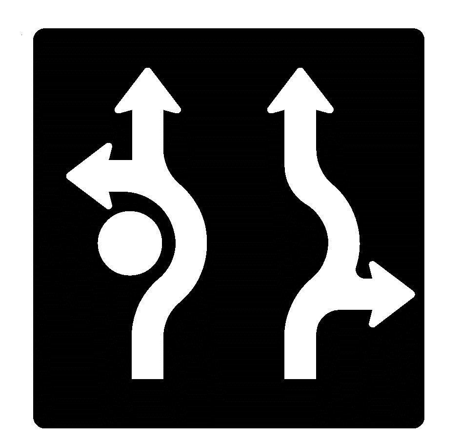 Sample roundabout lane control sign