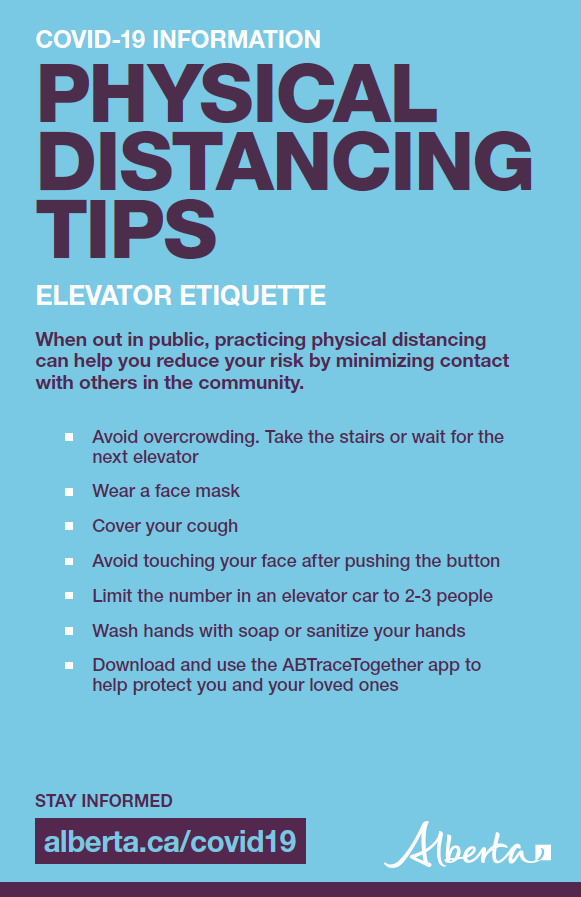 Physical distancing tips: Elevator etiquette