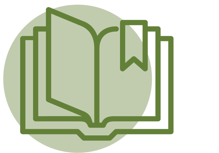 An icon of an open book to represent literacy