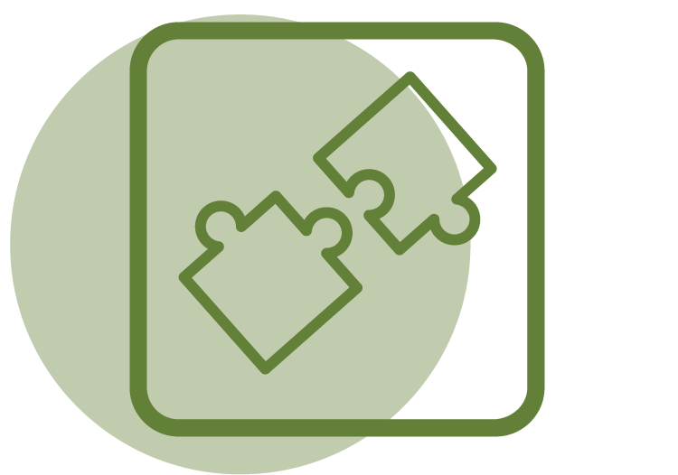 Icon of puzzle pieces to represent practical skills