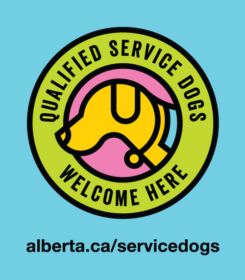 Service dog decal that businesses and organizations can request to display at their business to show they welcome and support service dog teams.