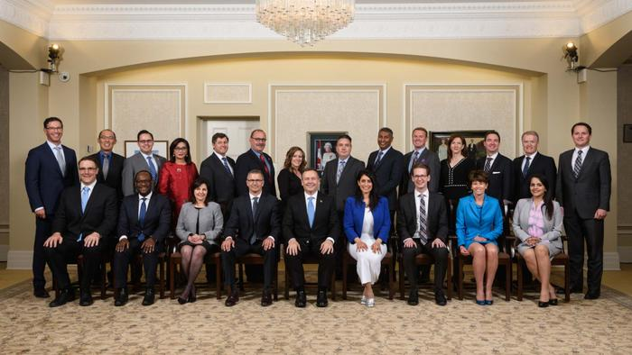 Photo of Premier Jason Kenney and his Cabinet.